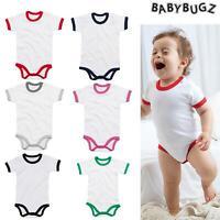 Babybugz Ringer Bodysuit (BZ19) - Baby/Toddle Plain Bodysuit T-shirt Boys/girls