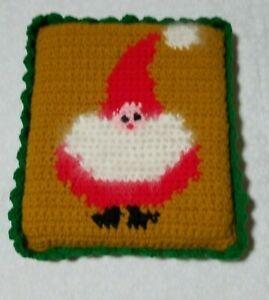 """Vintage square Hand Crocheted Holiday Christmas Santa Pillow 8x9"""" retro fuzzy be"""