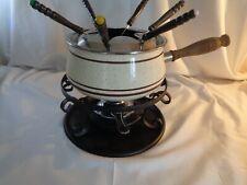 Ofretro/kitsch 1970`s fondue set with original oil burner ceramic pot and 6 fork