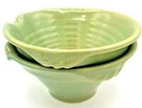 Pair of Over and Back Yellow Ware Batter Bowls w Pour Spout & Sailboat Stamp