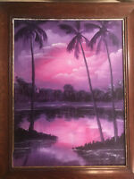 "Todd Anderson 04 ""Florida Dusk Landscape Scene"" Oil Painting - Signed And Framed"