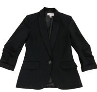Calvin Klein 2 Women Black Jacket Blazer One Button Tailored 3/4 Sleeve Coat