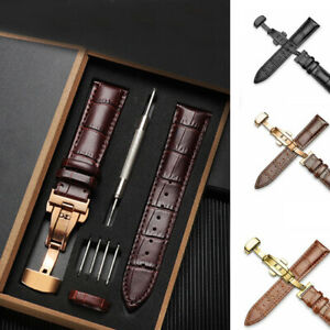 18-24mm Genuine Leather Stainless Steel Butterfly Clasp Buckle Watch Band Strap