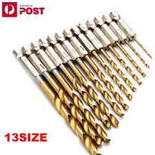 13pcs HSS Hex Shank 13pc Quick Change Titanium Coated Drill Bit Set