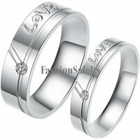 "Stainless Steel ""Love"" Promise Ring w Cubic Zirconia Inlay Couple's Wedding Band"