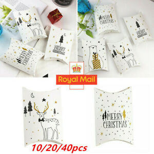 40pcs Christmas Boxes Paper Pillow Favour Bags Candy Sweets Xmas Party Gift Bags