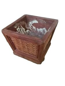 Vintage Wooden Planter with wicker motif design decor 6.5 inches square