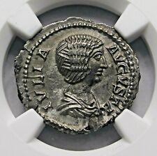 NGC AU Julia Domna. Stunning Denarius. Mother of Caracalla. Roman Silver Coin.