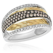 Crossover Cocktail Right Hand Ring 18K Yellow Gold Brown Champagne Diamond
