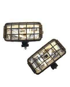 2x Fernscheinwerfer Schutzgitter Fernlicht LKW 12V 24V H3 Halogen mit Glühbirnen