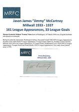 JIMMY McCARTNEY MILLWALL 1933-1937 VERY RARE ORIGINAL HAND SIGNED CUTTING/CARD