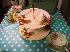 Cottage 2 Tier Cake Stand Vintage Woods Ivory Ware Plates New fittings/fixings