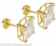 1x Pair of 9ct Yellow Gold 8mm Square CZ Gem Set Ear Studs Earrings + gift bag