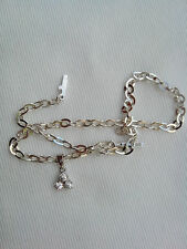 925 STERLING SILVER or 22ct GOLD CLAD, DIAMONITE ANKLET ON S.S/25cm CHAIN No7