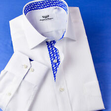 Mens White Mini Herringbone Professional Formal Business Shirts With Blue Floral