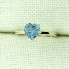 9CT YELLOW GOLD BLUE TOPAZ HEART SOLITAIRE RING