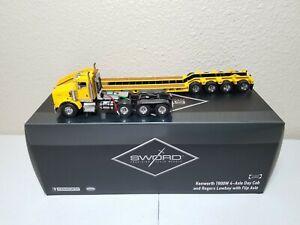 Kenworth T800W Rogers 4-Axle Flip Lowboy Yellow Sword 1:50 Scale #SW3102-YY New!