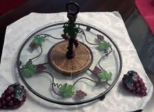 "Footed Glass Serving Tray Grapevines w/handle 12"" w/grape S & P shakers"