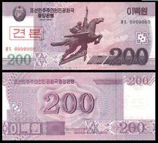 Korea Banknote Specimen 200 Won 2008 (UNC) 全新 朝鲜 200元样钞 号码全为0