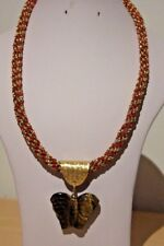 "Tigers Eye Carved Butterfly Pendant on 23"" Kumihimo Red & Gold Zari Cord"