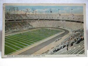 """1928 POSTCARD  """" STADIUM, OHIO STATE UNIVERSITY, COLUMBUS OHIO """" COLUMBUS CANCEL"""