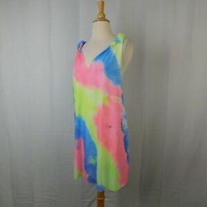 Bobbie Brooks Knotted Racerback Tie-Dye Print Swim Cover-Up - 12-14 Large #2745