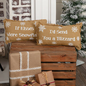 """VHC Brands Farmhouse 13""""x7"""" If Kisses Were Snowflakes, I'd Send of Holiday Decor"""