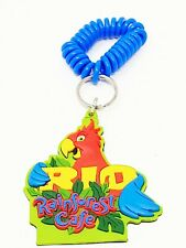 Rainforest Cafe Rio Keychain Key Chain Parrot Red 1998 Soft Plastic