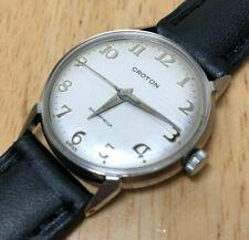 Vintage Croton Swiss Mens Waterproof Steel Hand-Winding Mechanical Watch Hours