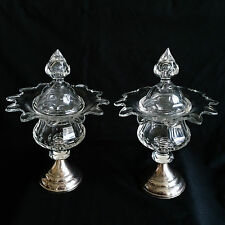PAIR SUPERB CUT CRYSTAL & STERLING SILVER SWEET MEAT LIDDED COMPOTES FLOWER FORM