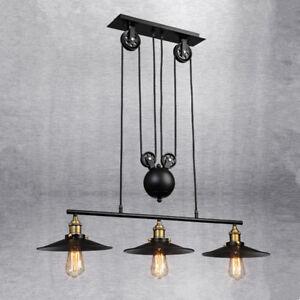 Large Ceiling Lights Kitchen Black Chandelier Lobby LED Vintage Pendant Lighting