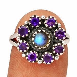 Labradorite - Madagascar & Amethyst 925 Silver Ring s.6 BR50383 252I
