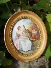 Ancienne miniature romantique joueur de guitare signé Jicey