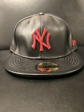 """🚨🔥🔴⚫️New Era 59Fifty New York Yankee """"Genuine Leather"""" FItted Hat sz8 (RARE)"""