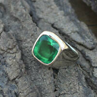 925 Sterling Silver Natural Certified 6Ct Emerald Stone Cluster Ring For Unisex