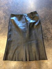 Gucci Black Leather Knee Length skirt 38 XS