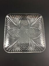 VINTAGE CLEAR GLASS CANDY SERVING RELISH DISH SQUARE LEAF DESIGN W/GLASS CIRCLES