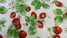 1 metre cotton  with design of strawberries in red and green on white