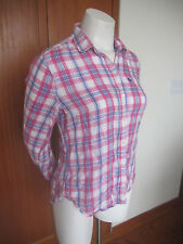 ABERCROMBIE & FITCH PINK Multi-Color Plaid Long Sleeve Button Down Shirt Sz M