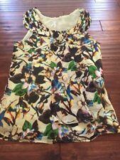 Lapis Size Medium Womens Sleeveless Floral Top Shirt