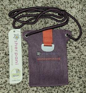 Sherpani Mini Slim Crossbody Purse / Wallet Purple Magnetic Closure