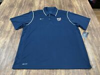 Washington Nationals Nike Dri-Fit Men's Blue MLB Baseball Polo Shirt - 2XL - NWT