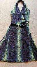 Karen Millen Snakeskin Halterneck Dress with Metal Belt Detail. Size 8