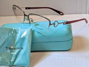 Tiffany & Co Women's Eyeglasses TF 1106-6001 Silver/Burgandy Frame 54mm