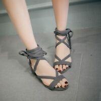 Women Fashion Lace up Square High Heels Shoe Cross-Strap Open Toe Sandals Size 8