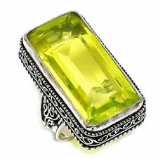 Peridot Gemstone Handmade Vintage Silver Fashion Jewelry Ring Size 7.5 SR3746