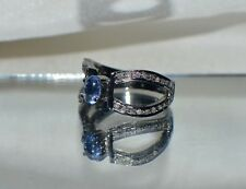 GLAMOROUS  NATURAL .67 SAPPHIRE 14K GOLD COCKTAIL RING & 1/2ct GENUINE DIAMONDS