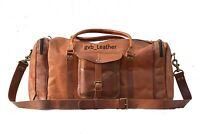 Handmade Men's Leather Vintage Duffle Luggage Weekender Gym Carry on Travel Bag
