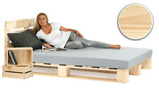 Palettenbett aus Holz Holzbett Massivholzbett mit Kopfteil 140x200 cm