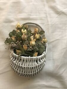 """Hanging Wicker Basket-Wall Pocket 5x3""""-SMALL -WITH Dried flowers"""